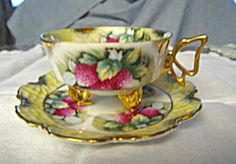 Footed teacup with raspberry motif and gold trim. Very elegant! SOLD at More Than McCoy at www.morethanmccoy.com