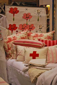 pillows at the vintage market Northwest Flower and Garden Show 2015 #nwfgs