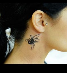 realistic tattoos, black widow on neck...not sure I could sport this!