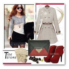 """""""Tidestore-club 3"""" by selmina ❤ liked on Polyvore featuring Grace, Boots, dress, bag, coat and tidestore"""