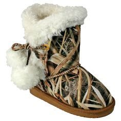 The DAWGS Girls Mossy Oak® Side Tie Boot features signature Mossy Oak designs that are fun and funky and a side tie double pom pom design. Faux shearling lining and comfort memory foam insole provide comfort and cushioning. The water resistant upper insul Camo Boots, Ugg Boots, Shoe Boots, Boots Sale, Country Outfits, Country Girls, Country Babies, Country Boots, Camo Outfits