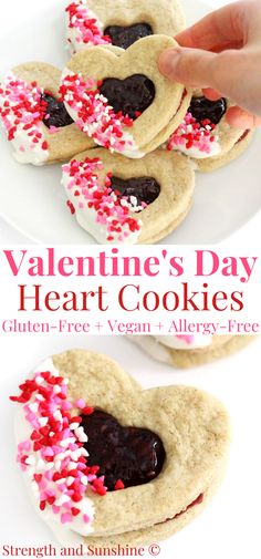 These fun decorated Heart-Shaped Cookies are a perfect Valentine's Day baking idea! Easy gluten-free and vegan sugar cookies with a delicious raspberry jam center, decorated with dairy-free white chocolate and festive sprinkles! This allergy-free treat is perfect to make with the kids at home and enjoy with everyone you love! #valentinesday #cookies #valentinesdaytreats #valentinesdaydessert