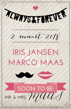#trouwkaart #vintage #wedding #hipdesign #invitation #mrandmrs