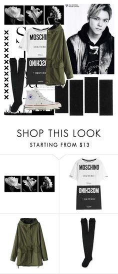 """""""Vernon Black&White"""" by jina-7 ❤ liked on Polyvore featuring Moschino, Aéropostale, Converse, Dark, blackandwhite, seventeen and vernon"""