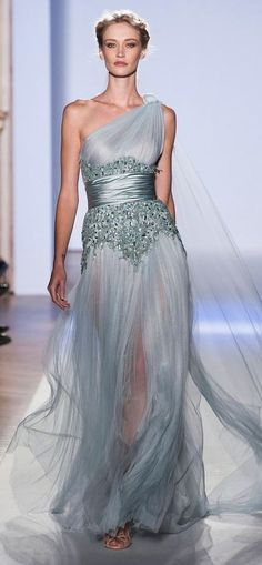 zuhair murad  Beautiful, feminine, and so elegant! I love the colors and the detail at the waist, but, for me, it needs a little more privacy in the skirt portion...