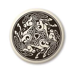 Epona Horse Pendant - Handcrafted Porcelain Round 3 Horse Equine Necklace Amulet