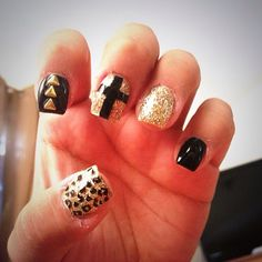 chevron, gold and black nail polish, bold, cross, sparkle, shine, leopard animal print