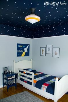 Star Wars themed wall decals – White star decals – Little Bits of Home Star Wars bedroom reveal – Little Bits of Home – Samantha's Stars – diy kid room decor Bedroom Themes, Girls Bedroom, Boys Space Bedroom, Little Boy Bedroom Ideas, Kids Bedroom Ideas, Outer Space Bedroom, Boys Bedroom Paint, Bedroom Designs, Boy Bedrooms