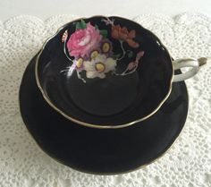Hey, I found this really awesome Etsy listing at https://www.etsy.com/listing/259936813/black-hand-painted-paragon-tea-cup