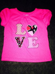 LOVE Fabric Applique Shirt or Onesie and by SouthernGraceGift