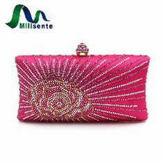 fac542487 [ 16% OFF ] Milisente Fashion Women Evening Clucth New Rose Flower Satin  Purse And Handbags Lady Gold Party Bags Pink Wedding Clutch Bag