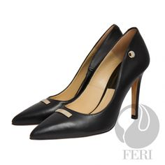 FERI - PHILIPPA - SHOES - Black Price                                  $915 Canadian Dollars Product #                           FSH-5849 Product Category              FERI Shoes - Napa leather pump with stiletto heel - Napa leather sole and insole - Colours: Black / Red and Tan - FERI logo hardware on sole, outside of heel and on toe plaque - Heel height: 4.5 inches…