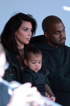 Kim Kardashian, Kanye West et North au défilé Kanye West x Adidas