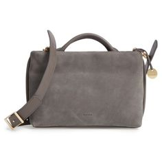 Women's Skagen Mikkeline Mini Leather Satchel ($245) ❤ liked on Polyvore featuring bags, handbags, pewter, genuine leather purse, mini handbags, leather handbags, leather satchel and satchel purses