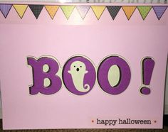 Halloween card - Happy Halloween Boo card with multi color banner