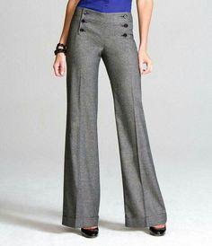 Kumaş Pantolon Modelleri Bol Paça Kumaş Pantolonlar Pictures Work Fashion, Fashion Pants, Hijab Fashion, Fashion Dresses, Skirt Pants, Trouser Pants, Wide Leg Pants, Gray Pants, Pants Outfit