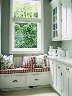 Window Seat Ideas Add a soft touch to a storage area off the kitchen with an upholstered cushion on a bench. A window seat is a great way to add a punch of color to a mostly white space. West end of kitchen with cabinets all the way down. Window Seat Kitchen, Window Benches, Kitchen Corner, Bay Window, Window Wall, Country Kitchen, Home Kitchens, Kitchen Remodel, Kitchen Decor