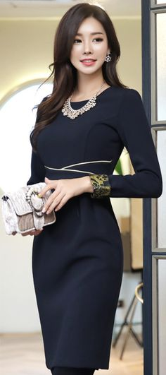 StyleOnme_Gold Line Patterned Cuff Dress #chic #slimfit #dress #elegant #koreanfashion #kstyle #kfashion #seoul #falltrend