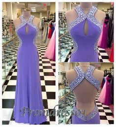 #promdress01 prom dresses - 2015 cute sequins backless purple chiffon long prom dress for teens, custom made prom dress, evening dress.