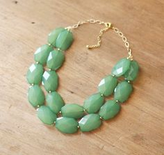Sea Green Double Strand Layered Statement Necklace - Green Bib Necklace on Etsy