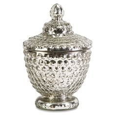 Nicole Mercury Glass Lidded Jar - Silver