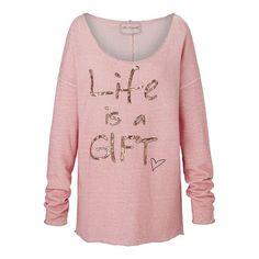 Sweatshirt, Statementprint, Pailletten, boxy, Romantik-Look Vorderansicht