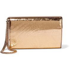 Jimmy Choo Carmen metallic cracked leather box clutch ($1,450) ❤ liked on Polyvore featuring bags, handbags and clutches