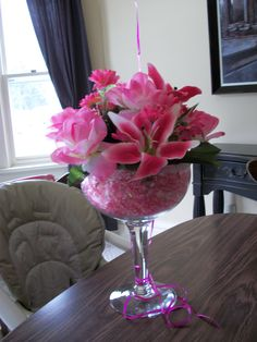 Margharita Glass with Silk flowers
