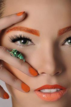 Orange Makeup - Very sweet. The orange eyebrows mmmmmmm NO. Beauty Make-up, Hair Beauty, Glamour Beauty, Makeup Tips, Eye Makeup, Makeup Inspo, Makeup Art, Sugarpill Cosmetics, Orange Makeup