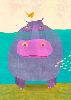 """Happy Hippo"" - Canvas Wall Art by Oopsy daisy featured artist Melanie Mikecz! Use Acrylics and watercolor? Mixed media with paper layers? Art And Illustration, Illustration Mignonne, Illustration Inspiration, Inspiration Art, Arte Elemental, Art Design, Graphic Design, Teaching Art, Elementary Art"