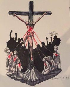 Jesus é o Rei! Jesus Son Of God, Jesus Art, Christian Artwork, Christian Images, Catholic Art, Religious Art, Jesus Drawings, Jesus Cartoon, Jesus Wallpaper