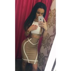 Party Glam Fashion Outfit Nude Cream Crop Top Bodycon Skirt Line Pattern Detail Style Trend ClarisseJuliette