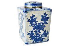 "11"" Floral Jar w/ Lid, Blue/White $85"