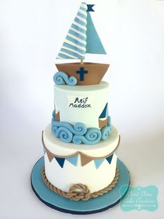 A nautical theme christening cake Birthday Party Themes, Boy Birthday, Birthday Cake, Nautical Cake, Nautical Theme, Christening Cake Boy, Boat Cake, Cakes For Boys, Cake Creations