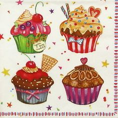 CUPCAKES decoupage papers - Pesquisa Google