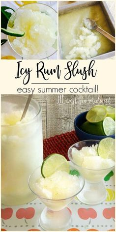 It's getting warmer and you need a drink fitting for the summer! The Summer Season Kick-off Cocktail is an Icy Rum Slush that you can make in the freezer overnight! Slushy Alcohol Drinks, Rum Cocktails, Vodka Slushies, Easy Summer Cocktails, Vodka Lemonade, Frozen Lemonade, Frozen Cocktails, Cocktail Drinks, Blue Drinks