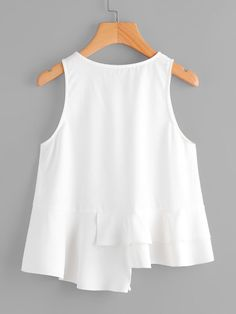 Frill Trim Staggered Hem Shell Top