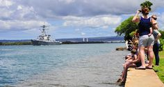 PEARL HARBOR (Sept. 6, 2013) Families gather to wave goodbye as the guided-missile destroyer USS Hopper (DDG 70) departs Joint Base Pearl Harbor-Hickam for an independent deployment to the 5th Fleet and 7th Fleet areas of responsibility. (U.S. Navy photo by Mass Communication Specialist Seaman Apprentice Rose Forest/Released)
