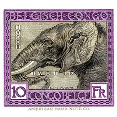Antique 1923 Belgian Congo Elephant Postage Stamp on CafePress.com
