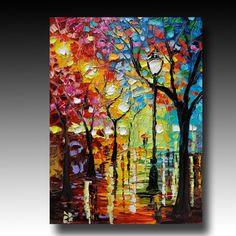 Found on Etsy- B. Sasik Original Oil Painting RAINY NIGHT Abstract Contemporary Fine Art Modern Palette Knife