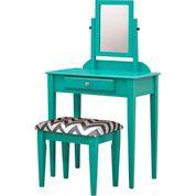 Vanity Set w/ Chevron Pattern Stool - Teal Blue