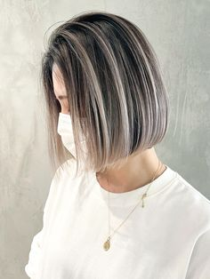 Gray Hair Highlights, Hair Color Balayage, Short Bob Hairstyles, Pretty Hairstyles, Short Hair Cuts For Women, Short Hair Styles, Short Balayage, Grey Hair Inspiration, Grey Ombre Hair