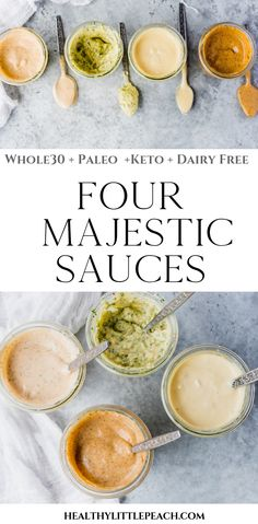 4 new creamy and light sauces that will add flavor to any boring protein. Paleo and Keto compliant. 4 Majestic Sauces Keto, DF) - Healthy Little Peach Dairy Free Recipes, Paleo Recipes, Gourmet Recipes, Low Carb Recipes, Cooking Recipes, Dairy Free Sauces, Cooking Tips, Paleo Whole 30, Whole 30 Recipes