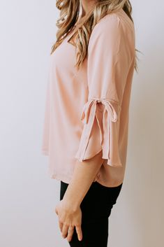 Hello Darling Tie Sleeve Top in Blush – Ivy + June. Clothes for work. Formal Tops, Casual Tops, Pink Tops, Ivy, Work Wear, June, Bell Sleeve Top, Blush, Ruffle Blouse