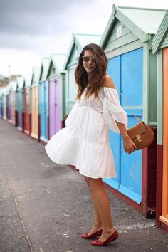 Happy moments in Brighton, last days of summer wearing a pretty white dress and red Chanel flats