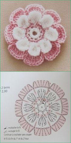 Watch The Video Splendid Crochet a Puff Flower Ideas. Phenomenal Crochet a Puff Flower Ideas. Crochet Diagram, Crochet Chart, Crochet Motif, Diy Crochet, Crochet Stitches, Crochet Flower Tutorial, Crochet Flower Patterns, Crochet Designs, Crochet Flowers