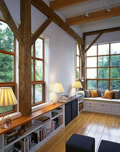 Window Seat, Wooden beams and Slats, Built-ins = Heaven! Furniture Top View, Furniture Design, Sweet Home, Bookshelves Built In, Built Ins, Bookshelf Bench, Bookcases, Living Spaces, Living Room