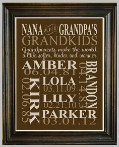 Want this!  Personalized GRANDPARENT PRINT - with Grandchildren's Names and Birthdates - Completely Customizable - Christmas Gift - Anniversary Gift. $16.00, via Etsy. gotta do this for nagymama