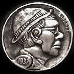 TONY LEWIS HOBO NICKEL: DERBY WITH GLASSES - 1937 BUFFALO PROFILE Italy Pictures, Hobo Nickel, Coin Art, Derby, Buffalo, Cactus, Coins, Carving, Profile