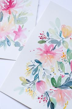 un an aquarelle fleurs watercolors florals-24